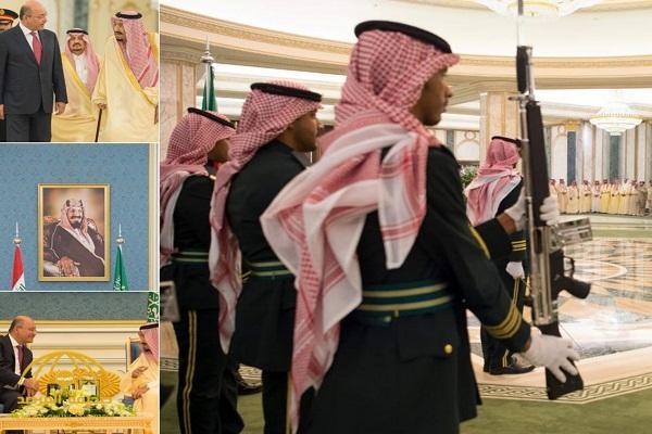 بالصور: خادم الحرمين يستقبل الرئيس العراقي الجديد ويقيم مأدبة غداء تكريماً له