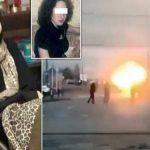 شاهد: لحظة تفجير امرأة نفسها أمام الجنود في الشيشان.. وتطاير جسدها في الهواء!