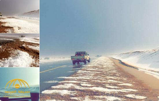 حالة نادرة.. شاهد.. الثلوج تكسو طريق الجوف – حائل !