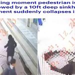 شاهد فيديو صادم .. لحظة خسف أرضي أثناء مرور سيدة صينية !