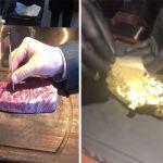حذف الفيديو ولكن لم يستطع منع انتشاره .. شاهد : فنان خليجي يتناول اللحم المغطى بالذهب !
