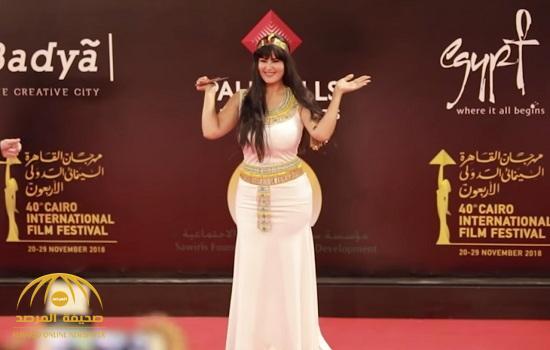 """فيديو .. شاهد الراقصة """"سما المصري"""" تتحول إلى سيدة """"فرعونية"""" في مهرجان القاهرة السينمائي"""