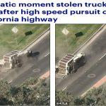 شاهد .. مطاردة شاحنة مسروقة على طريق سريع في كاليفورنيا  ينتهي بحادث مروع  وهروب السائق !
