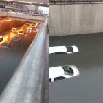 شاهد .. السيول تغرق السيارات داخل نفق الملك فهد بالدمام