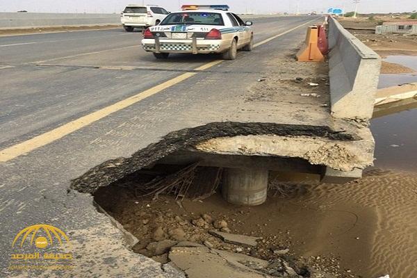 انهيارات للطرق وغرق للسيارات .. بالصور : هذا ما خلفته سيول الليث المنقولة في طريق الساحل الدولي