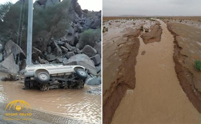 بالصور : آثار مدمرة للسيول بالليث .. وكاميرات طائرة ترصد سيل الأودية والشعاب شمال الرياض