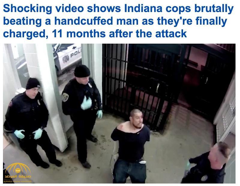 """شاهد .. ردة فعل أفراد شرطة """"إنديانا"""" بعدما """"بصق"""" متهم على وجه أحدهم"""