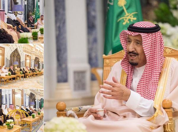 بالصور .. خادم الحرمين يستقبل عددا من الوزراء السابقين والكتاب والمثقفين