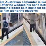 نهاية صادمة .. بالفيديو :  باب قطار يغلق على يد أحد المسافرين ويسحله على طول الرصيف!