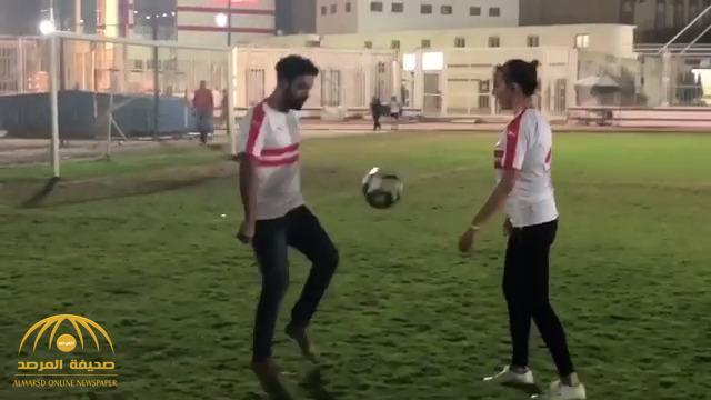 """شاهد .. """"السلطانة هويام"""" تلعب كرة القدم داخل نادي الزمالك المصري"""