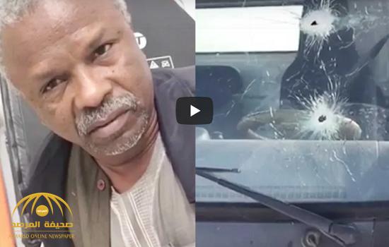 """بالفيديو .. تفاصيل سطو مسلح  وإطلاق نار على قدم سائق سطحة سوداني وسرقة سيارة """"لكزس"""" على طريق الرين"""