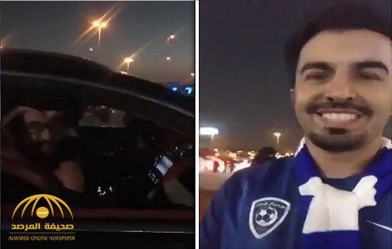 """شاهد.. ماذا قال مشجع هلالي لـ """"رئيس النصر"""" بعد تعادل الفريقين؟!"""