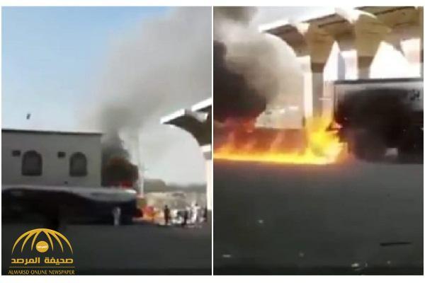 شاهد .. مواطن يخاطر بحياته و ينقذ محطة وقود من كارثة محققة!