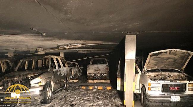 شاهد بالصور: احتراق عدد كبير من السيارات المتوقفة في ظروف غامضة بجدة