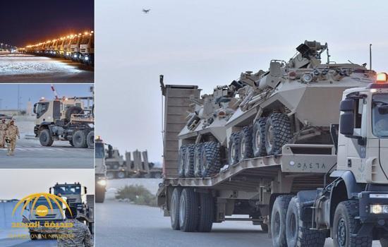 بالصور: تحرك عدد كبيرمن القوات العسكرية المدرعة تابعة للحرس الوطني إلى جنوب المملكة