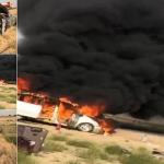 بالصور.. حريق مروع يلتهم سيارة أسرة محافظ القنفذة بالنيابة .. وهذا مصير أفراد عائلته!