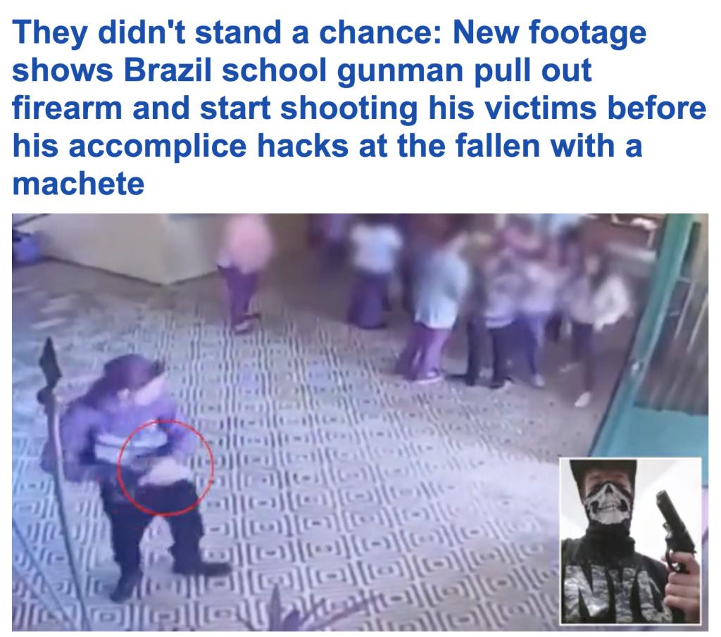 شاهد.. أول فيديو لحظة إطلاق طالب النار على زملائه في مدرسة بالبرازيل