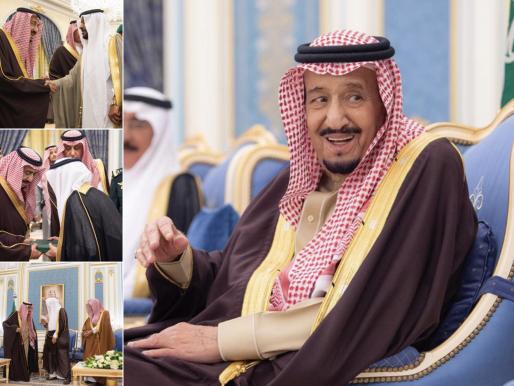 """بالصور: """"خادم الحرمين""""  يستقبل أصحاب السمو الأمراء ومفتي عام المملكة وجمعاً من المواطنين"""