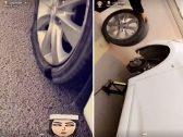 """شاهد: سائقة سعودية توثق إصلاح """"بنشر الكفر"""" الخاص بسيارتها على طريق سريع!"""