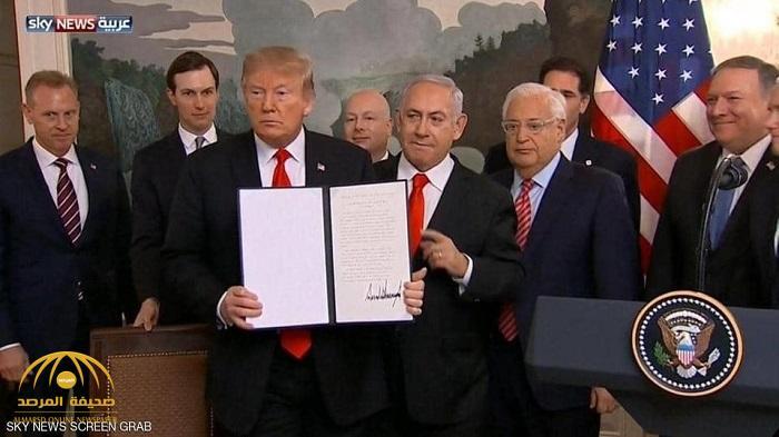 بالفيديو : ترامب يوفي بوعده ويعلن رسميا  الاعتراف بسيادة إسرائيل على الجولان