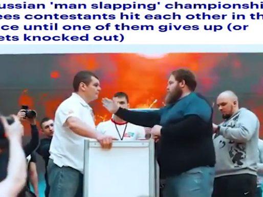 """شاهد : بطولة """"صفع الرجال"""" في روسيا .. إما الاستسلام أو الهزيمة بالصفعة القاضية"""