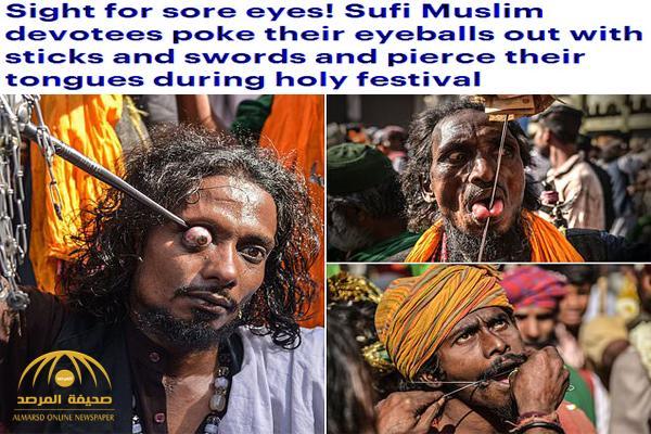 منها ثقب اللسان وإخراج العيون .. بالصور : طقوس غريبة للصوفية خلال مهرجان ديني في الهند