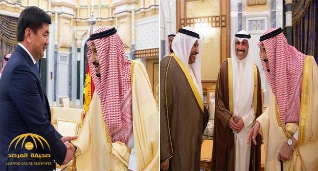 بالصور .. خادم الحرمين يستقبل رئيس مجلس الأمة بالكويت ورئيس وزراء قرغيزستان