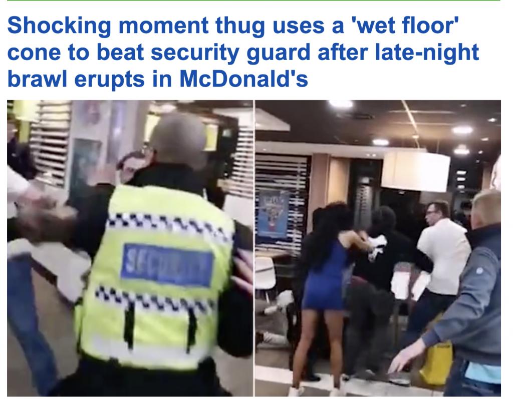 """شاهد ..  مشاجرة عنيفة بين شاب و حارس أمن داخل مطعم """"ماكدونالدز """""""