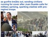 """بالصور والفيديو  : شاهد .. حرب شوارع في العاصمة الفنزويلية """"كاركاس"""" بين الشرطة وأنصار """"غوايدو"""""""