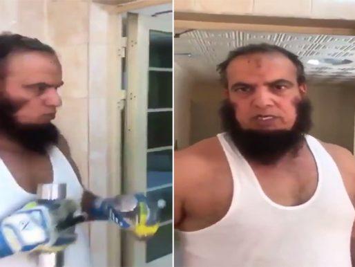 """شاهد .. الكويتي """"مبارك البذالي"""" بملابس داخلية يجري تمرينات رياضية من أجل الاستعداد للدفاع عن """"الأرض والعرض"""" !"""