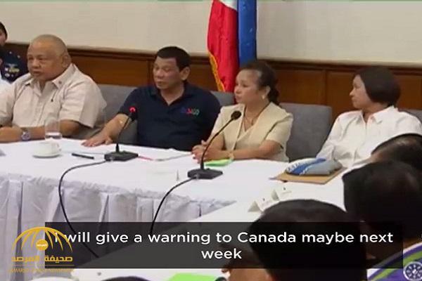 """بالفيديو .. رئيس الفلبين يهدد كندا بـ""""قوارب القمامة"""""""