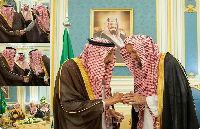 بالصور .. خادم الحرمين يستقبل المفتي وعدد من الأمراء وأصحاب الفضيلة العلماء وجمعاً من المواطنين