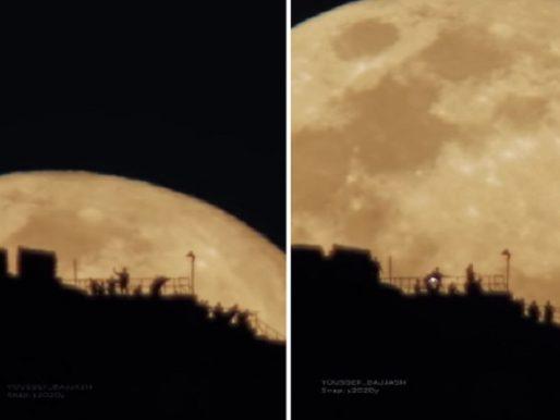 شاهد .. لحظة بزوغ  القمر بالقرب من قمة جبل النور بمكة!