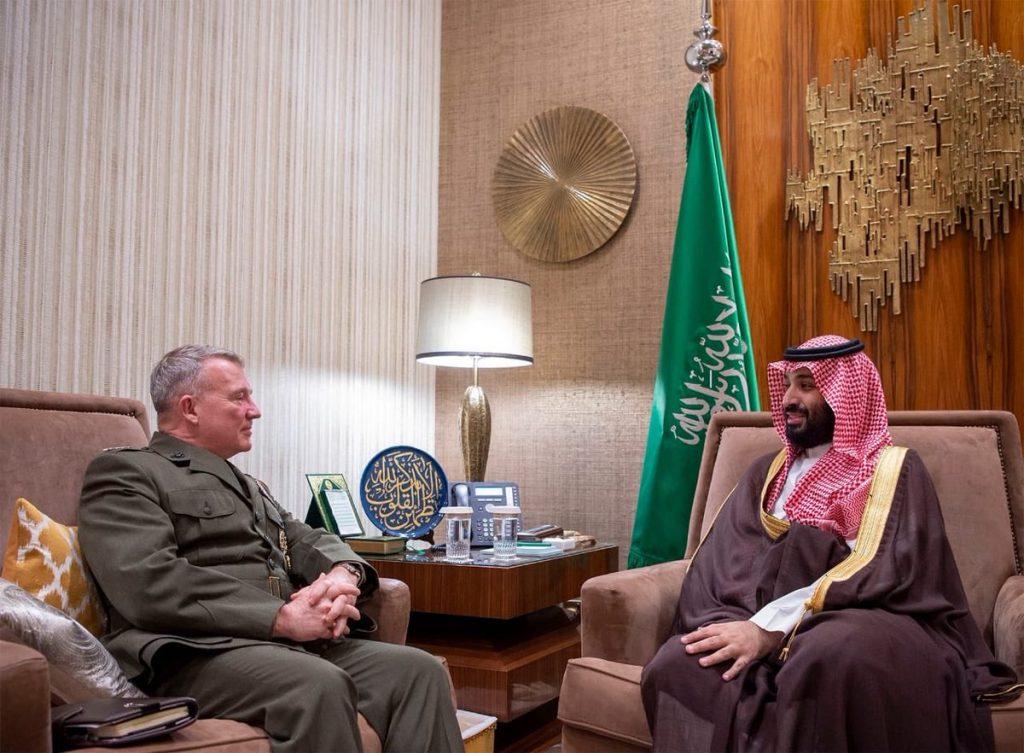 بالصور.. ولي العهد يلتقي قائد القيادة المركزية الأمريكية ويبحث معه أوضاع المنطقة