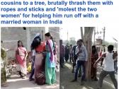 """شاهد.. ربط امرأة هندية متزوجة  في شجرة مع عشيقها وجلدهم بـ""""الحبال والعصي"""" !"""