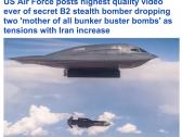 """شاهد: سلاح الجو الأمريكي يوجه رسالة تحذير إلى إيران وينشر فيديو لحظة إسقاط قاذفة لـ""""قنبلة"""" على قبو عسكري"""