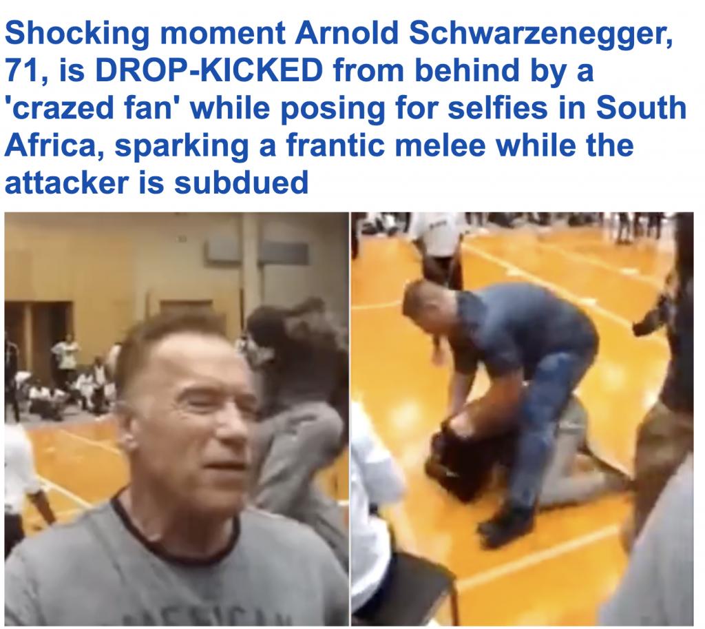 شاهد.. ركلة مفاجئة لـ «أرنولد شوارزنيجر» كادت تسقطه .. المهاجم قفز في الهواء ثم باغته بالضربة من الخلف