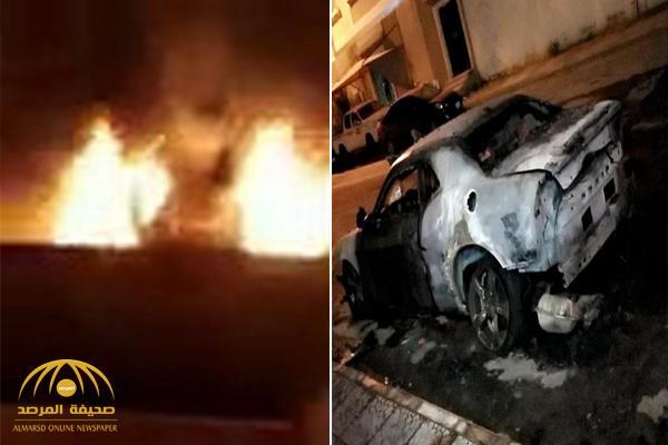"""بالفيديو .. مواطنة توثق لحظة إحراق سيارتها الـ """"دودج"""" أمام بيتها في المدينة .. وتكشف عن مرتكب الواقعة"""