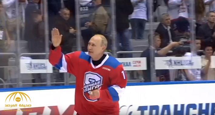 """شاهد .. الرئيس الروسي  يسقط على وجهه أثناء مباراة """"هوكي"""""""