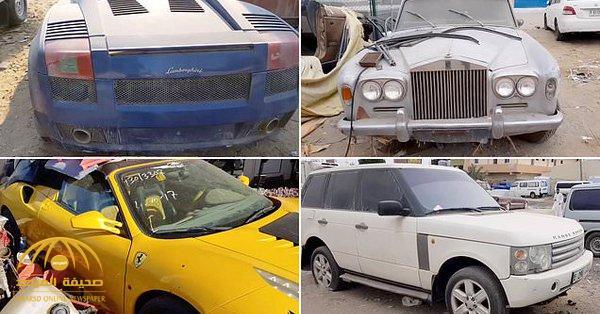 """بينها """"فيراري"""" و """"رولز رويس"""" .. شاهد : أضخم مقبرة للسيارات الفاخرة في الشارقة بعد هروب أصحابها من الإمارات"""
