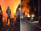 """بالصور.. حريق هائل يلتهم عددا من السيارات في """"بريمان جدة"""".. والدفع بـ 15 فرقة للسيطرة على النيران"""