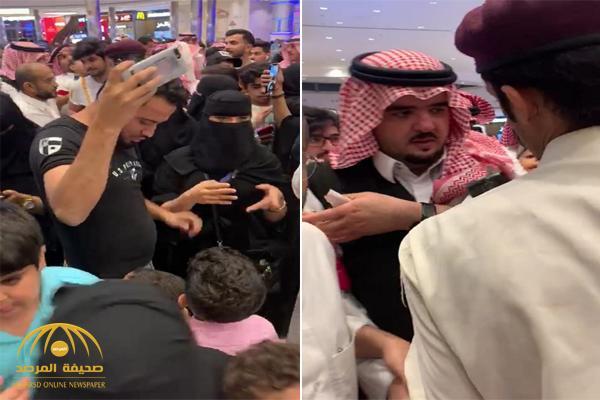 شاهد .. تزاحم وتدافع الرجال والنساء حول الأمير عبدالعزيز بن فهد في مول الرياض بارك