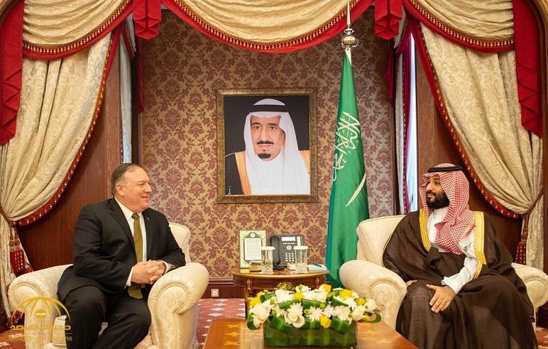 بالصور .. ولي العهد يجتمع مع وزير خارجية الولايات المتحدة الأمريكية