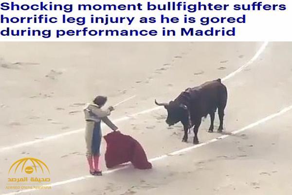 بالفيديو : ثور ينتصر على مصارعه في إسبانيا .. شاهد كيف قذفه في الهواء وأحدث به إصابة مروعة
