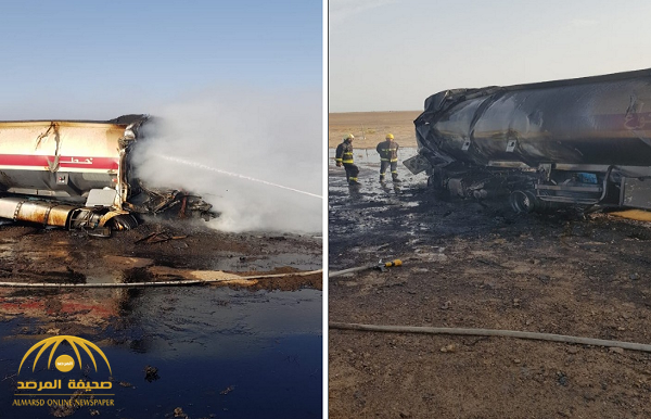 شاهد.. بالصور: حادث مروع واحتراق ناقلة زيت على طريق سريع في جدة!
