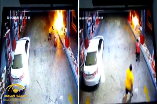 شاهد.. لحظة إخماد مواطن لحريق بمحطة وقود كاد يتسبب في كارثة بينبع!