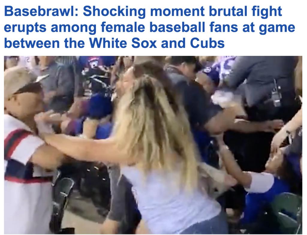 """شاهد.. اشتباك """"وحشي"""" بين مشجعات """"البيسبول"""" بيشكاغو .. وتصرف عنيف تجاه """"رجل الأمن"""""""