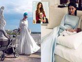 """شاهد.. أحدث صور لـ""""ملكة جمال روسيا """"زوجة ملك ماليزيا السابق بعد ولادة ابنهما الأول"""