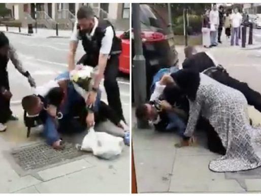 """شاهد فيديو صادم"""" الشرطة البريطانية تعتدي على عربي أمام زوجته بوحشية في لندن"""