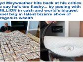 """شاهد .. الملاكم الأمريكي """"مايويذر"""" يتباهى بثروته ويضع 2 مليون دولار على الطاولة ويعرض أكبر حقيبة """"شانيل"""" في العالم"""